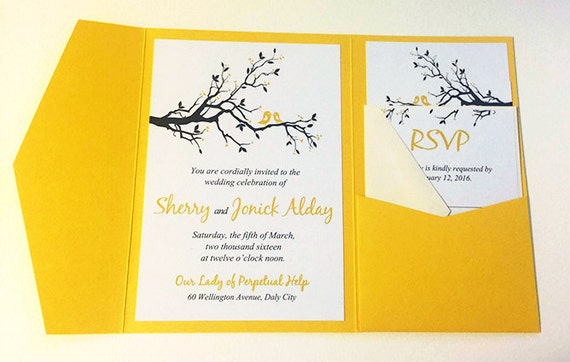 Bird Wedding Invitation: Love Bird Wedding Pocketfold Invitation Wedding Invitation