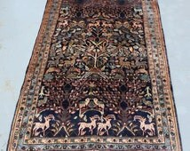 Pictorial Tree of Life Design c.1950s Persian Rug with Beautifully Matured Colors - 221x136cm (7.25x4.46ft)