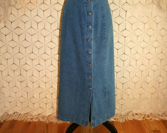 Vintage Denim Maxi Skirt High Waist Denim Skirt Button Up Long Denim Skirt Vintage Blue Jean Skirt Size 4 Skirt Small Womens Clothing