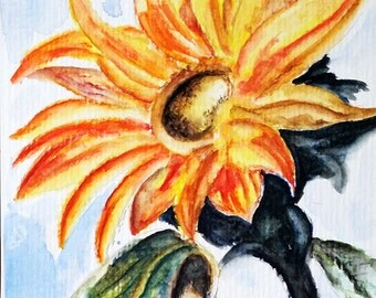 ORIGINAL Floral Watercolor Painting, Yellow Sunflower, Colorful flower4x6 Inch