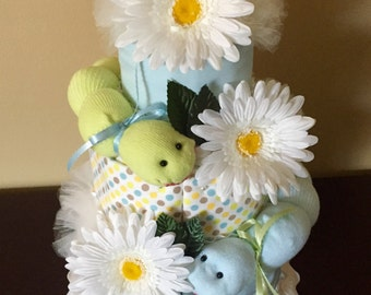 2 Tier Baby Sock Bouquet Burp Cloth Cake Pink By