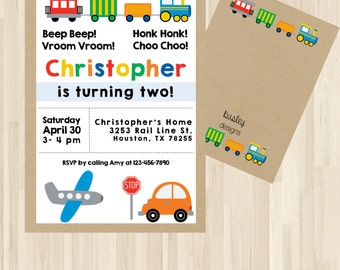 Planes Trains Automobiles Party, Planes Trains Automobiles, Transportation Birthday, Transportation Invitation, Second Birthday