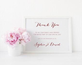 Minimalist Wedding Thank You Sign, Wedding Reception Signs, Maroon Wedding, Thank You Wedding Sign, SKU: WFK