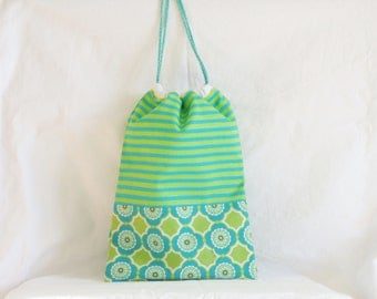 Baby bag, snack bag, kids tote bag, birth gift, preschool bag, storage pouch, pouch bag, sliding bag, green and aqua Michael Miller fabric