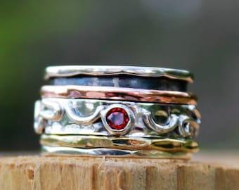 Spinning Ring, Spinner Ring, Garnet ring, Meditation Ring, Statement Ring, spin ring, worry ring , Israeli ring,birthstone ring