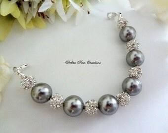 Swarovski Grey Pearl Watch Bracelet Set Gray Pearl Bracelet Watch Grey Wedding Bridal Watch Bridesmaid Jewelry Mother of Groom Bride Gift