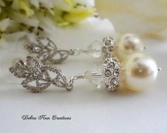 Swarovski Cream Pearl Crystal Earrings Bride Earrings Pearl Bridesmaid Earrings Pearl Bridal Wedding Earrings Mother of Bride Groom Formal