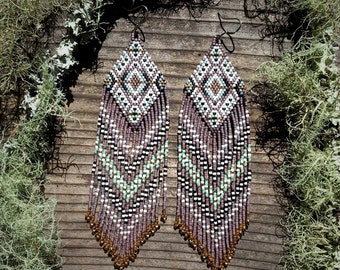 Lilac Wine..Beaded Fringe Earrings Native American Inspired