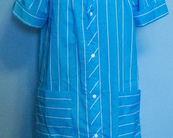 Vintage Lara Dee Blue Striped Housecoat/Duster