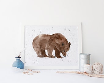 Watercolor Bear Print » 4x6 5x7 8x10 11x14 » Cabin Wall Art » Grizzly Bear Printable » Woodland Wall Art » Rustic Home Decor » Digital Print