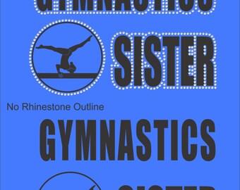 Gymnastics Sister Sweatshirt/ Gymnastics Sweatshirt/ Vinyl Rhinestone Gymnastics Sister Hoodie Sweatshirt/ Gymnastics Gifts