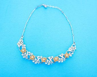 Vintage 1950s or 1960s Necklace - Silver Fone with Orange Coloured Flowers - Faux Diamonds Diamantes - Bridal - Vintage Headpeice