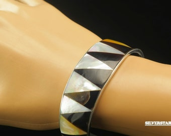 "Sterling Silver Onyx & Shell Inlay Cuff Bracelet 6"""