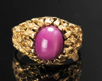 10k Gold Art Nouveau Ruby Ring Size 6.75