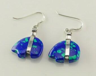 Sterling Silver Azurite Bear Earrings