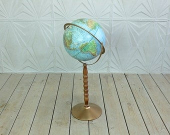 "Vintage Pedestal Standing Globe 12"" Diameter by Replogle Land & Sea 70's 60's Wood Spindle Retro World Map Atlas Stand"