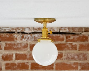 """Free Shipping! Semi Flush Solid Raw Brass 6"""" White Opal Glass Globe Flush Mount Industrial Ceiling Lighting Polished Nickel Gold UL Listed"""