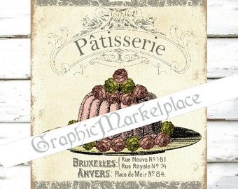 Patisserie Cake Bakery Printable Instant Download Transfer Burlap digital collage sheet graphic No. 799