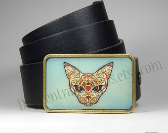 Cat Belt Buckle Colorful Cat Sugar Skull Belt Buckle Dia de los Muertos Day of the Dead Belt Buckle Choice of Buckle Finish