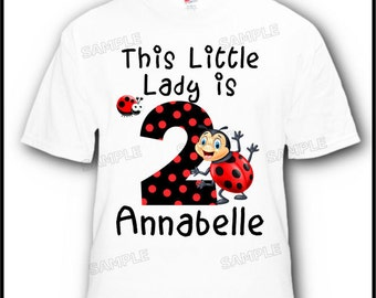 This Little Lady is 2! Ladybug Birthday T-Shirt - Choose any age!