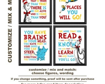 dr seuss nursery, dr seuss wall decor, oh the places you will go, the more that you read, you have brains,today you are you, dr suess quotes