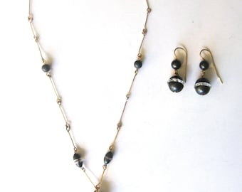 Jewelry Set  -  9K Yellow Gold & Hematite Earrings With Matching Necklace