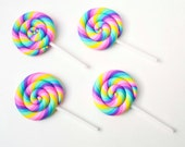 Large Pastel Rainbow Lollipop Suckers Candy Rolled Sweets Dessert Polymer Clay Decoden Decoration Crafts 060116