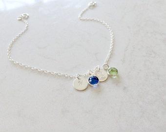 Personalized Initial Bracelet Birthstone Bracelet hand stamped initials monogram bracelet mothers bracelet monogram jewelry letter bracelet