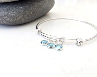 Aquamarine Bangle Aquamarine Birthstone Bangle Personalized bangle March Birthstone aquamarine Swarovski Birthstones bangle jewelry bridal