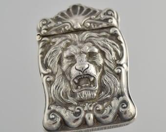Antique Renaissance Revival Sterling Silver LION MATCH Safe VESTA Holder