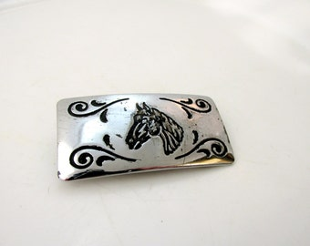 Small Engraved Belt Buckle Horses Head Silver Tone Metal Southwestern Vintage Collectible Gift Item 2074