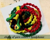 Rasta Skullcandy Headphones, iPhone Earphones, Wrapped Headphones, Valentines Day Gift for Grad, Gift for Teen Boys Rastafari Jamaican Theme