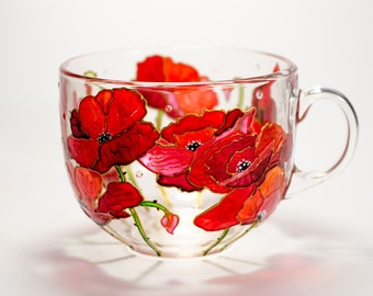 Red Poppies Mug Hand Painted Glass Coffee Mug for mom, Orange poppy gift Cup for her, Flowers Mug Birthday Present