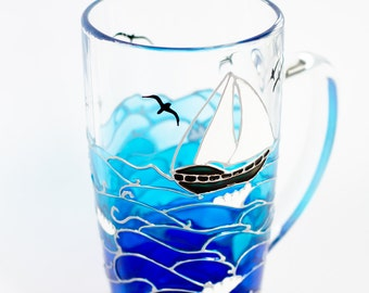 Nautical Gift Ocean themed coffee mug Coastal unique mugs Turquoise Blue coffee cup Beach mug