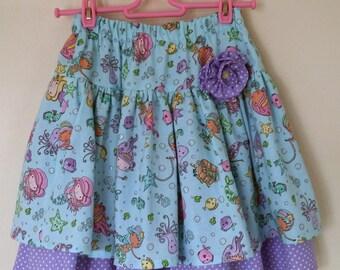 Girl's skirt, mermaid party, under the sea, twirl skirt, birthday, kids clothing, uk