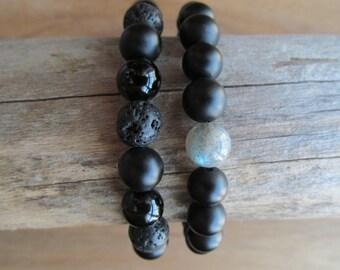 Bracelet Set Labradorite, Lava, Matte Black Onyx, Stacking Bracelets, Men's Bracelet, Beaded Bracelets, Mala Bracelet, Yoga Jewelry
