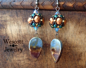 Watercolor Beaded Bead Drop Earrings