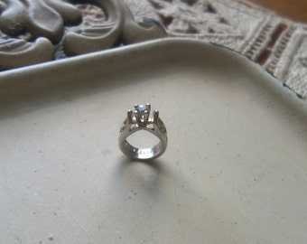 Tiny Sterling Engagement Ring Charm