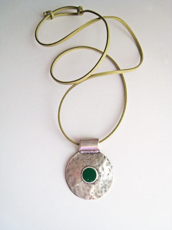 Bohemian necklace, emerald green necklace, boho tribal pendant, green resin necklace, hammered silver round pendant, ancient greek amulet