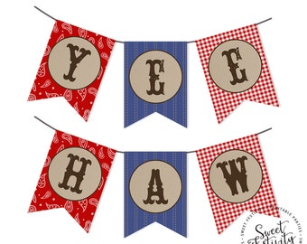 Western Party Printable Banner Garland Yee Haw INSTANT DOWNLOAD