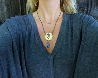 Throat Chakra // Kyanite raw quartz handmade jewelry / yoga jewelry  / Vishuddha blue stone healing energy necklace