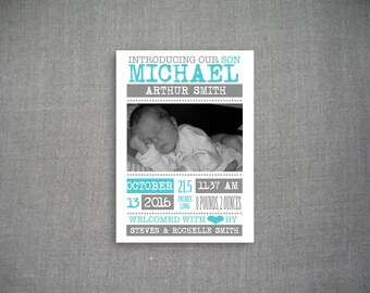 Newborn Boy Birth Announcement