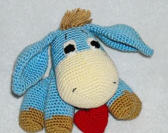 Nother Day Gift  for her, burro amigurumi , burro crochet, Stuffed donkey, plush donkey burro, Knitted donkey burro, toy donkey, Gift