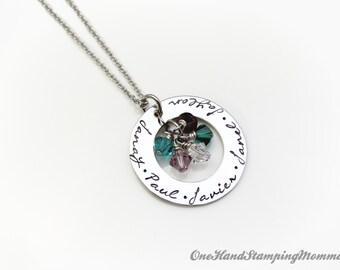 Hand Stamped Jewelry - Personalized Necklace- Hand Stamped Necklace- Mom Necklace - Mother Necklace - Grandma Necklace