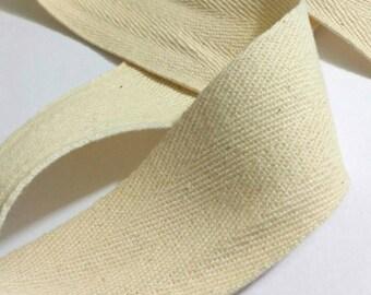 "Cotton Twill Tape, Natural Ivory Linen Herringbone Ribbon 1.5"""