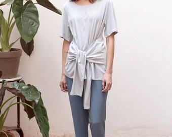 40% 0ff Grey t shirt women,short sleeve blouse,basic tee,waist belt,plus size clothing,gusta,minimalist clothing,urban