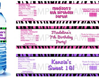 Zebra Print Water Bottle Labels - PRINTED FOR YOU - Birthday Party Supplies Favors