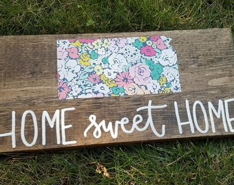 Kansas Floral Home Sweet Home Wooden Sign