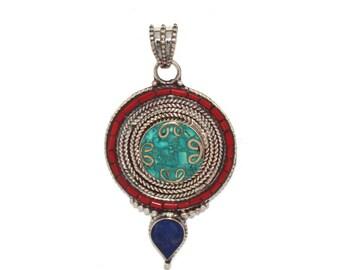 Turquoise pendant coral Pendant Lapis Pendant Nepal Pendant nepalese pendant Tibetan Pendant Tibet pendant Boho pendant gypsy pendant PB21