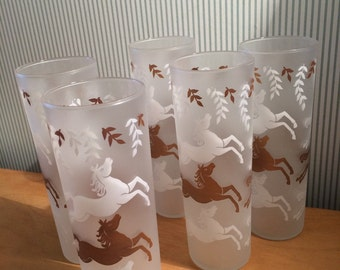 Set of Vintage Frosted Drinking Glasses with Gold and White Horses